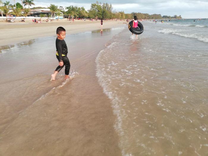 Children enjoy on summer trip 2019,หาดเจ้าหลาว Achi2019 Water Beach Child Boys Childhood Males  Real People Land Men Motion Sea Lifestyles Full Length Day Leisure Activity Sport Sand Nature Outdoors