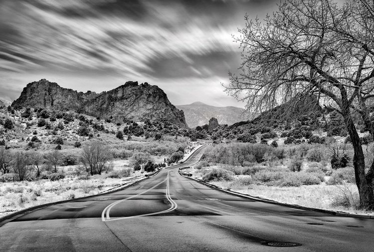 Angry Sky Backgrounds Fine Art Photography Black And White Photography Colorado Road Transportation The Way Forward Mountain Car Land Vehicle No People Tree Nature Sky Outdoors Winding Road Scenics Beauty In Nature Bare Tree