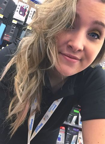 I like that at my job I can just sit on my phone Blond Hair One Person Lifestyles Real People Indoors  Young Women Portrait Young Adult Day Close-up People (null) Walmart Work Working Connection Selfie