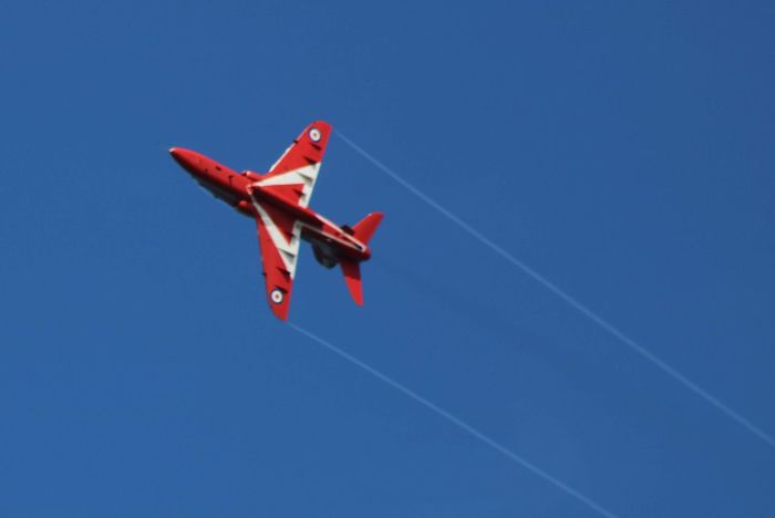 Red Arrow Aerobatics Airshow Vapor Trail Airplane Flying Military Fighter Plane Air Vehicle Red Performance
