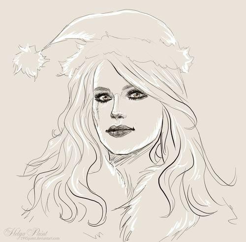 1995paint 2017 Happynewyear HelgaPaint Sapkowski Sketch Art Fantasy Fantasygirl Keris Keristhewitcher Longhair Person Portrait Thewitcher