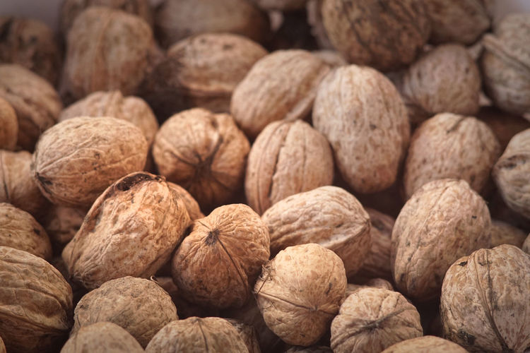 Full frame shot of walnuts