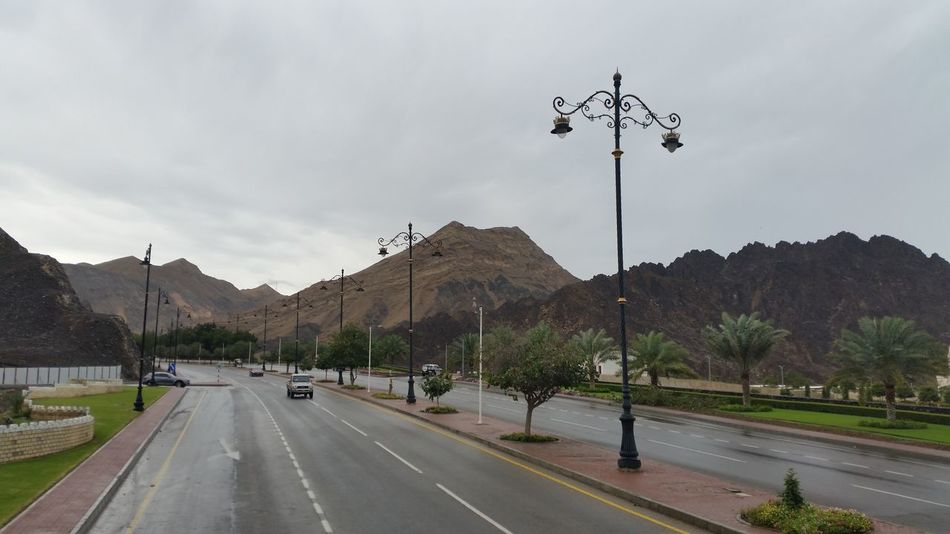 Car Country Road Empty Land Vehicle Landscape Mountain Mountain Range Muscat , Oman Nature Road Road Marking Sky Street Street Light The Way Forward Transportation Tree