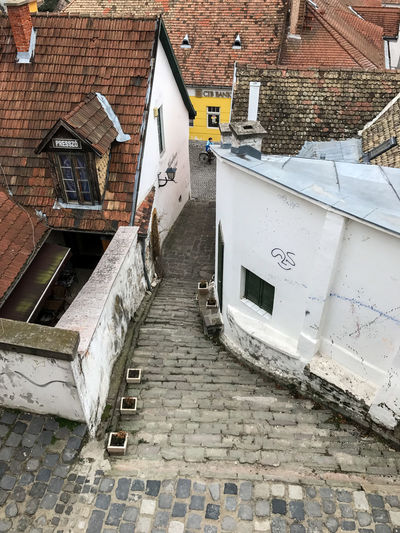 Stairs in Szentendre, Hungary Architecture Brick Brick Wall Building Building Exterior Built Structure City Communication Day Footpath High Angle View House No People Outdoors Residential District Roof Staircase Street Wall Wall - Building Feature