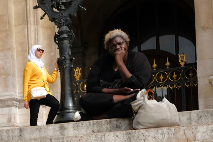 That look you give that guy Luxe Vs. Poor Opera House Paris Architecture Beggar Homeless People Sitting Street Photography Two People