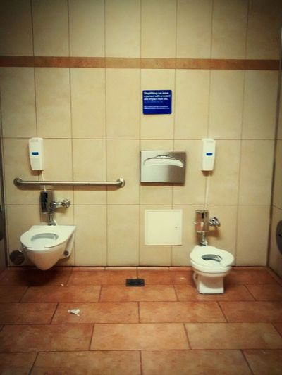 Indoors  Tiled Floor Modern Convenience No People Tile Toni Vossen, Pixtography Walmart Supercenter WalmartAdventures Bathroom Break  Toilets Around The World Toilethumor Big And Little Child Size Mommylife Funny Things In Life California USA