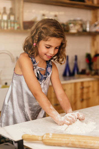 Girl cooking at home