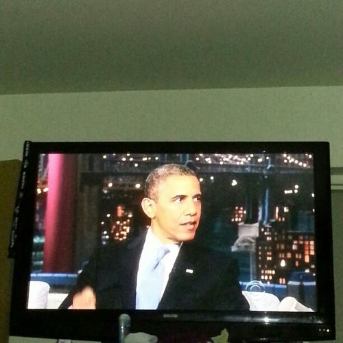 In the bed watching the late show...Obama Somebodyimportant Democraticparty Voteordie