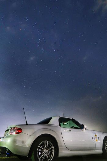 Car Transportation Mode Of Transport Land Vehicle Stationary No People Night Sky Star - Space Crash Outdoors Astronomy Space Scenics Beauty In Nature Clear Sky Blue Mazda MX-5 Mx5 Miata マツダ ロードスター 夜空 空