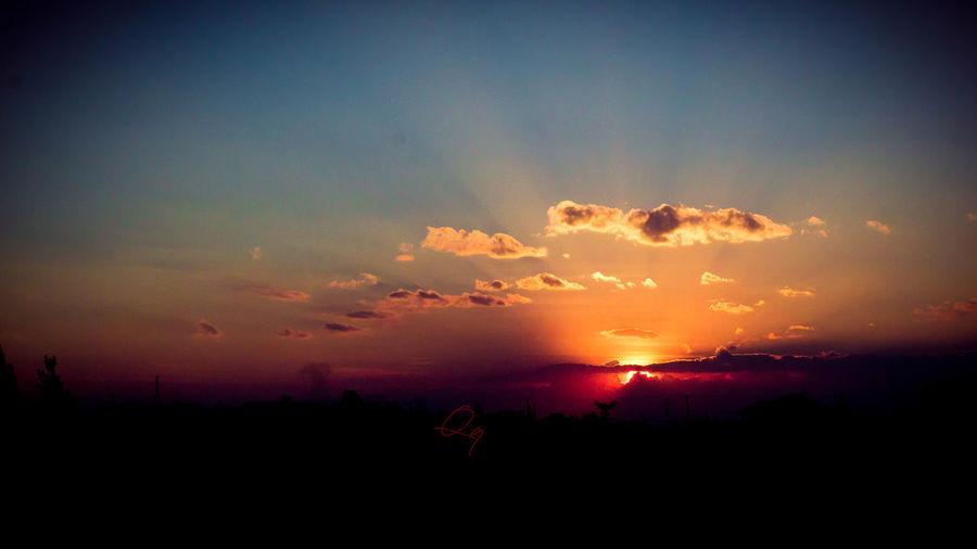 magical sunset Awe Beauty In Nature Cloud - Sky Dark Dramatic Sky Environment Idyllic Landscape Nature No People Non-urban Scene Orange Color Outdoors Romantic Sky Scenics - Nature Silhouette Sky Sun Sunlight Sunset Tranquil Scene Tranquility