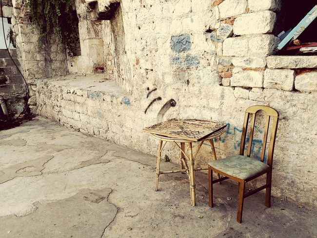 Chair Shabby Table Outdoors No People Building Exterior Travel City Croatia Croazia Textured  Table Rustic HuaweiP9 Al Fresco Beautiful Paint Weathered Aging Weathered Wood Architecture Chairs Chairswithstories Story Storytelling