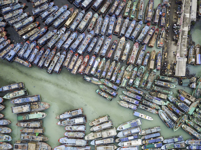Full frame shot of boats moored in sea