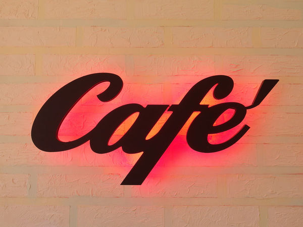 cafe letter word with glowing on brick wall background Text Communication Wall - Building Feature Western Script No People Close-up Wall Indoors  Black Color Creativity Built Structure Capital Letter Art And Craft Red Sign Architecture Love Backgrounds Emotion Full Frame Message Coffee Glowing Light Wall