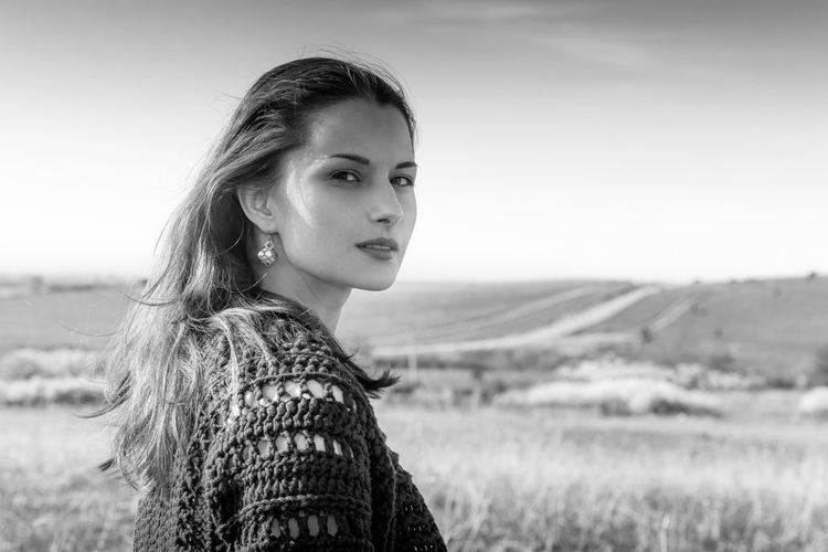 Field Nature Adventure Bw_collection Portrait Beautiful Woman Beauty Rural Scene Looking At Camera Beautiful People Headshot Young Women Boho Monochrome This Is Natural Beauty EyeEmNewHere It's About The Journey International Women's Day 2019