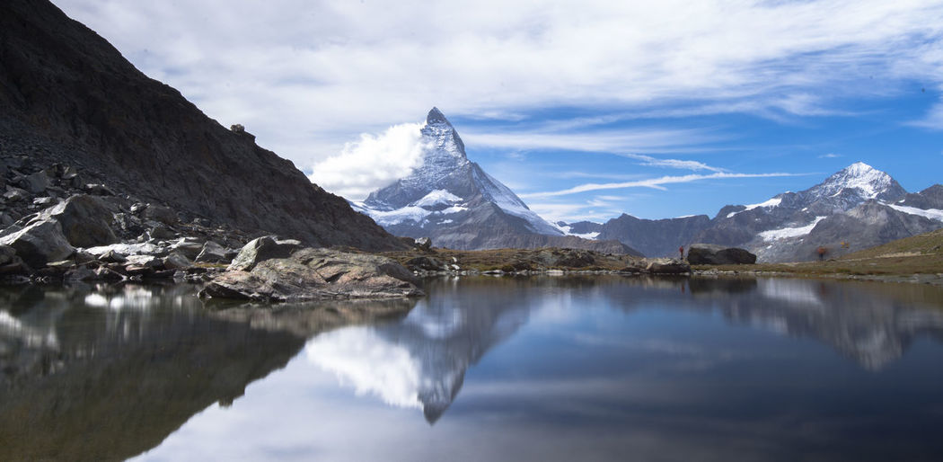 Matterhorn is a large, near-symmetric pyramidal peak in alps