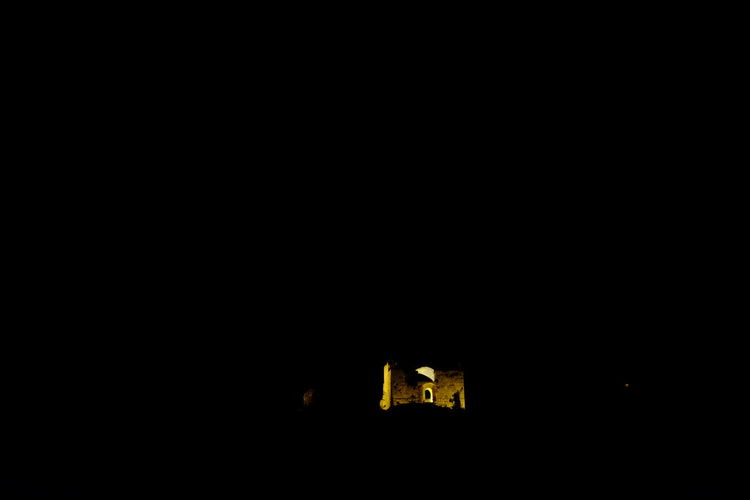 Archeology Architecture Black Background Built Structure Castle Copy Space Illuminated Indoors  Mediterranean Culture Night No People