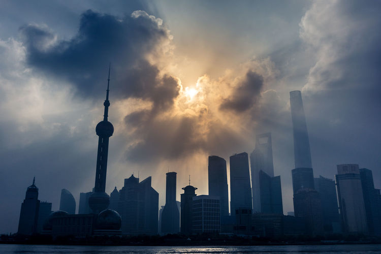 Huangpu River Against Modern Buildings During Sunrise