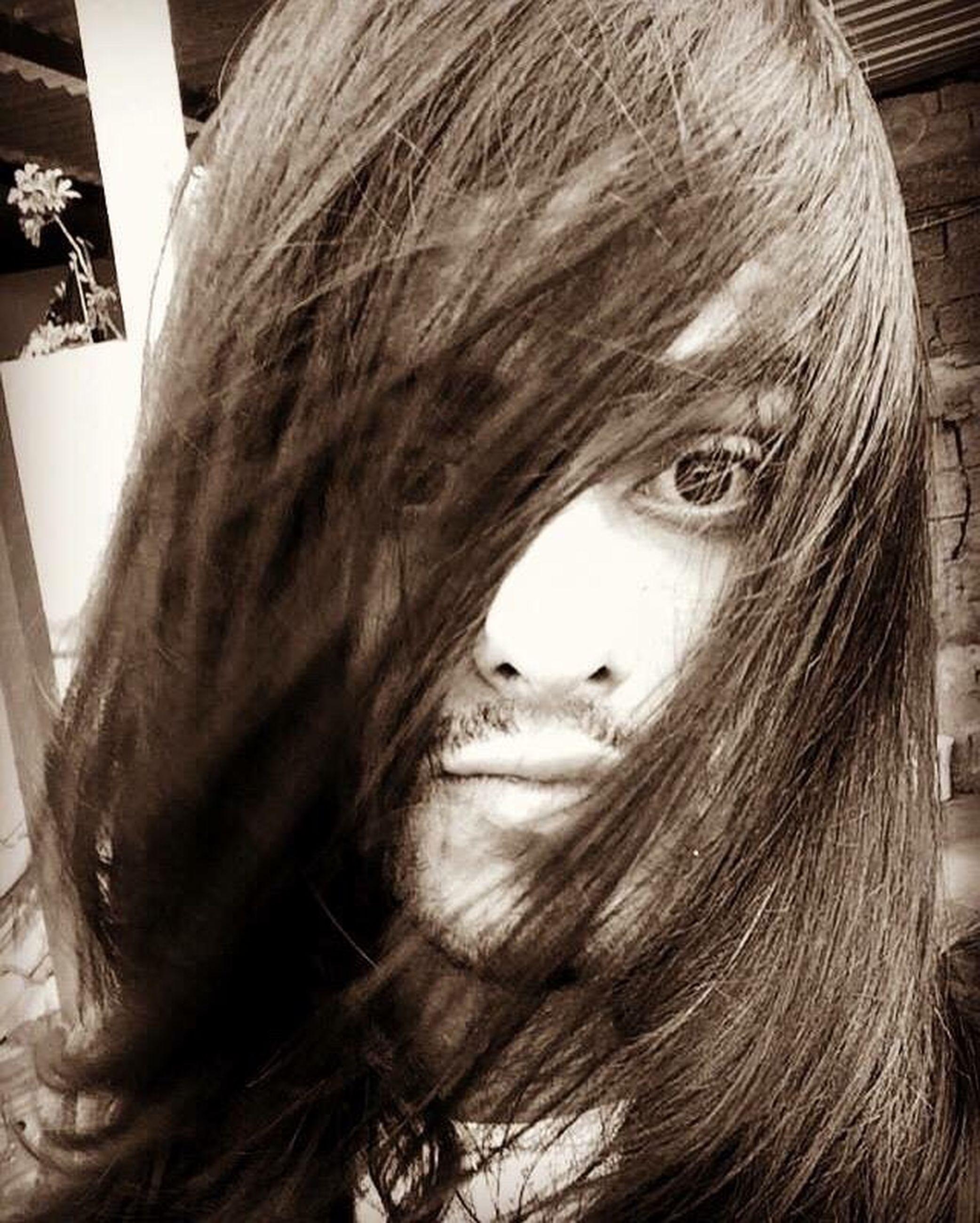 close-up, young adult, long hair, animal hair