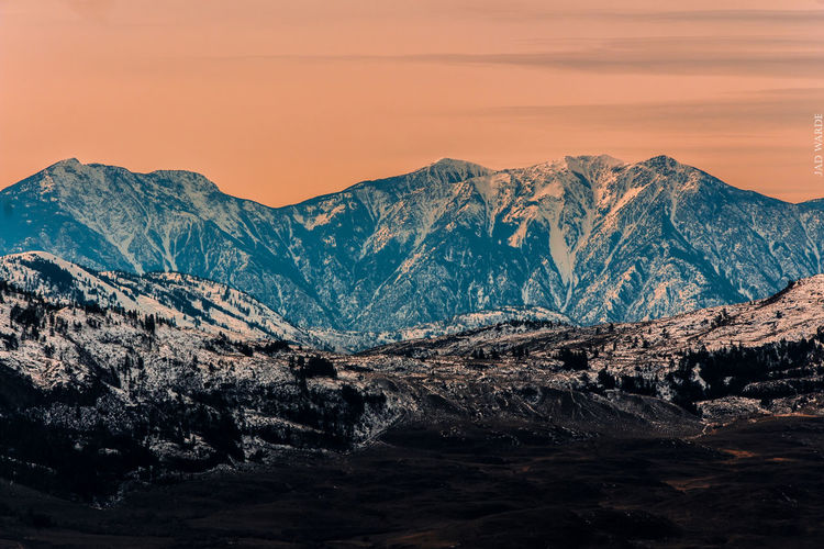 Sunset Landscape Mountain Pine Tree Pinaceae Mountain Range Forest Pine Woodland Snow Scenics Mountain Peak Nature Dramatic Sky No People Beauty In Nature Winter Outdoors Sky Night