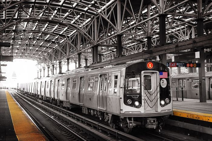 The Q_Coney Island Public Transportation Subway Coney Island NYC Brooklyn Selective Color Station Train Station Train New York Gotham