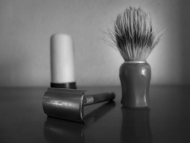 Classic shaving Blackandwhite Blade Brush Classic Classic Shaving Close-up Fuji Fujifilm Fujifilm X30 Fujifilm_xseries Indoors  No People Reflection Shave Soap Table