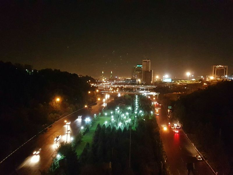 High Angle View Night City City Street City Life Dark Sky Tehran Iran Lighting Equipment Illuminated Road Outdoors View From Above Nightvision Nightview Flying High