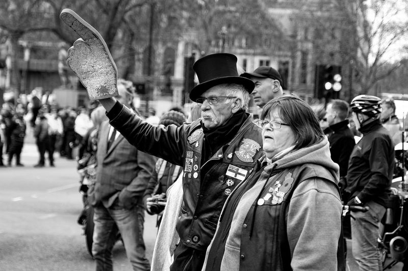 Rolling Thunder motorcyclists and retired soldiers descend on Parliament Square in London to protest at the decision to charge Soldier F over Bloody Sunday. Group Of People Women Clothing Real People City Adult Men