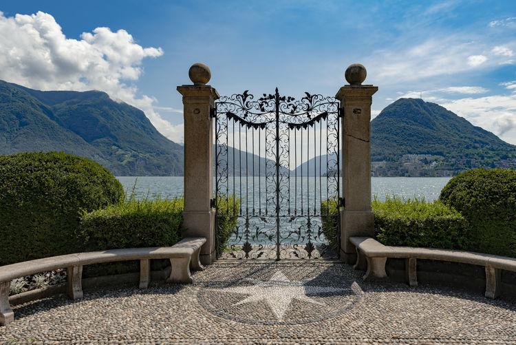 Gate on lake lugano at parco ciani