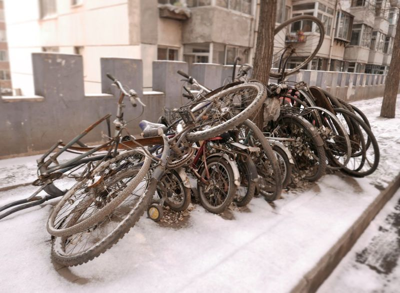 Bikes Locked Bikerack Mode Of Transport Bicycle No People Land Vehicle Outdoors Tires Rims Parts Junk Wintertime ⛄ Chengde City Life