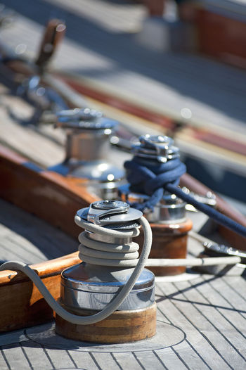 Boat Close-up Day Focus On Foreground Holidays In A Row Metal No People Portrait Ropes Sailing Selective Focus Sunlight Tourism Winch