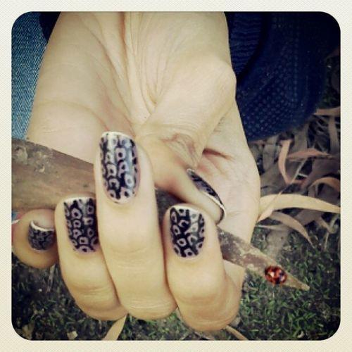 A ladybird and the lady's fingers Ladybird Nailpaint Nailwork Leaf Hand Nashikgram Nashikigers