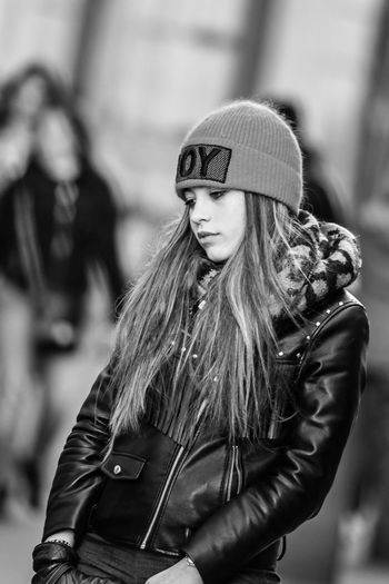Girl... One Person Focus On Foreground Hair Hairstyle Long Hair Clothing Lifestyles Leisure Activity Women Real People Young Adult Young Women Standing Casual Clothing Day Incidental People Jacket Beautiful Woman Leather Warm Clothing Teenager The Art Of Street Photography My Best Photo The Portraitist - 2019 EyeEm Awards