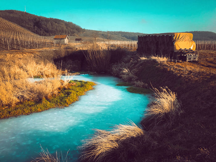 Vineyard dreams Frozen Panorama Panoramic Pond Winter Wintertime Architecture Beauty In Nature Clear Sky Day Dreamy Icy Lake Landscape Nature No People Outdoors River Scenics Sky Vineyard Water The Traveler - 2018 EyeEm Awards
