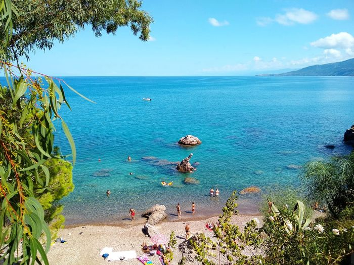 hidden beach Beach Summer Holiday Holiday In Italy Vacanze Cefalu, Sicilia Cefalu  Sicily Undiscovered Holiday Postcard Hidden Beach Free Beach Paddling Escape From The City Tree Blue Sky Horizon Over Water Seascape Rocky Coastline Moments Of Happiness