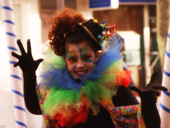 Adult Carnival - Celebration Event Celebration Clown Costume Disguise Face Paint Fallas 2018 Focus On Foreground Front View Indoors  Leisure Activity Lifestyles Looking At Camera Multi Colored One Person Paint Portrait Real People Waist Up Women