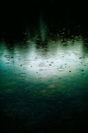 Full frame shot of raindrops on lake