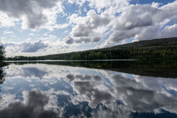 Norway Reflection Beauty In Nature Cloud - Sky Day Green Color Idyllic Lake Lake View Nature No People Non-urban Scene Outdoors Plant Purity Reflection Reflections In The Water Scenics - Nature Sky Sognsvann Symmetry Tranquil Scene Tranquility Tree Water