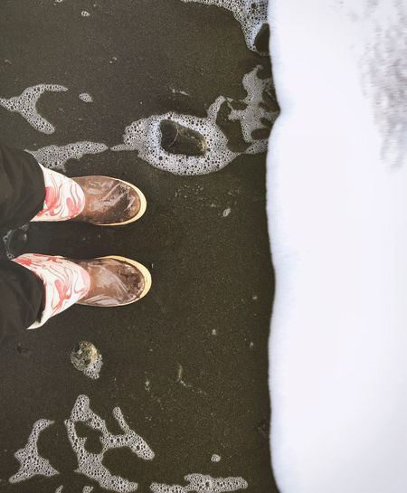 Shoe Low Section Human Leg High Angle View Standing Sand Beach Real People Directly Above Day Human Body Part Men Outdoors One Person People Alaska