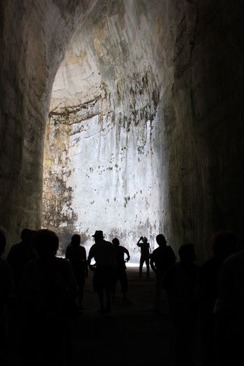 Orecchio di Dioniso, Syracuse, Sicily Light Nature Attraction Cave Caves Photography Crowd Group Of People Light And Shadow Light In The Darkness Rock Rock Formation Slihouettes Tourism Tourism Destination