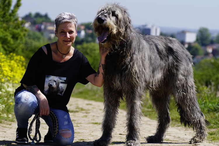 Happiness Smiling Domestic Animals Portrait Outdoors Vineyard Rows Freshness Beauty In Nature Green Color Gentle Giant Irish Wolfhound Willi The Wolfhound Mommys Boy❤ Have A Nice Day♥ Bonding Moments Love♡ Love My Dog❤️ Togetherness Dogs Of EyeEm Dogslife Togethernessishappiness
