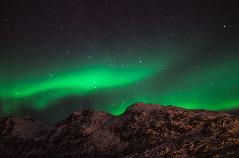 Scenic View Of Mountain Against Aurora Borealis At Night