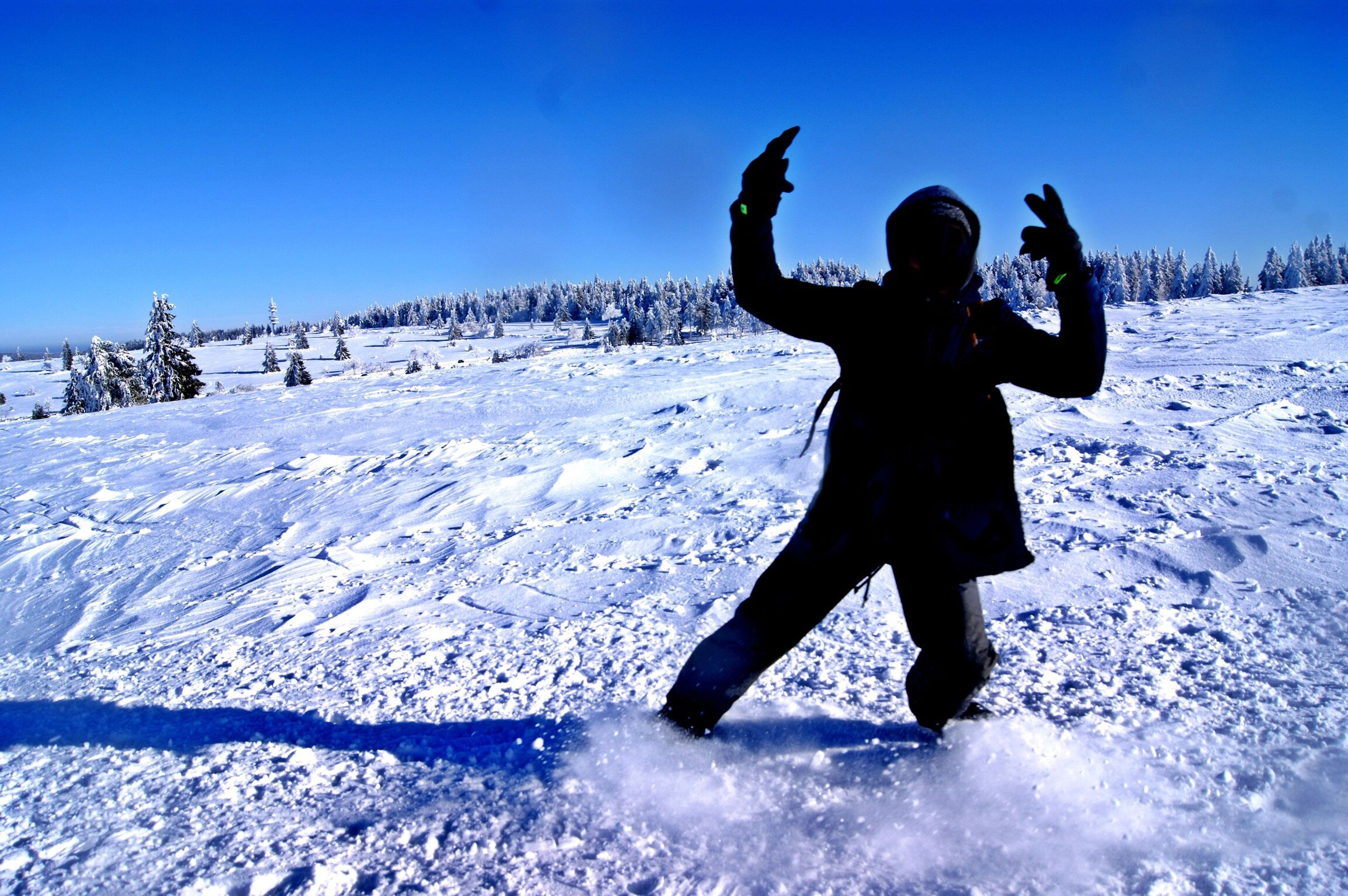 winter, snow, cold temperature, one person, arms raised, snowboarding, clear sky, outdoors, beauty in nature, day, happiness, human body part, sky, adventure, nature, people, adults only, adult