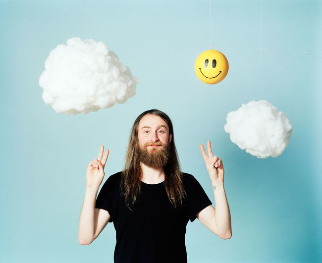 Cloud - Sky One Man Only Digital Composite Only Men Mid Adult Adult Mustache Business Finance And Industry Mid-air Cloud Computing One Person Communication People Beard Adults Only Business Technology Studio Shot Portrait Flying