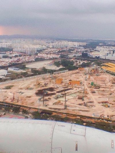 Singapore Construction Site View From The Plane Window Gloomy Dense Flats Densely Populated Architecture A Bird's Eye View