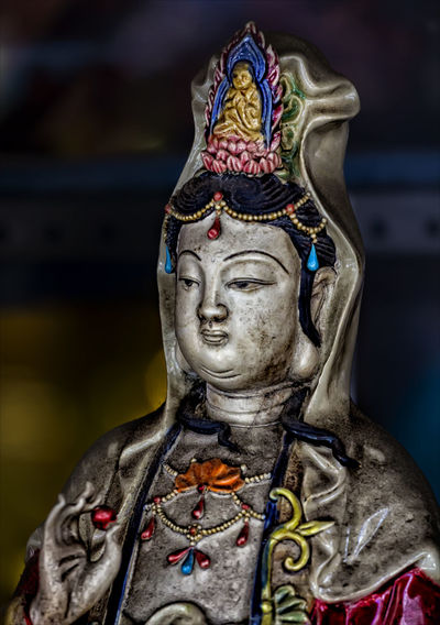Close-up of statue at night