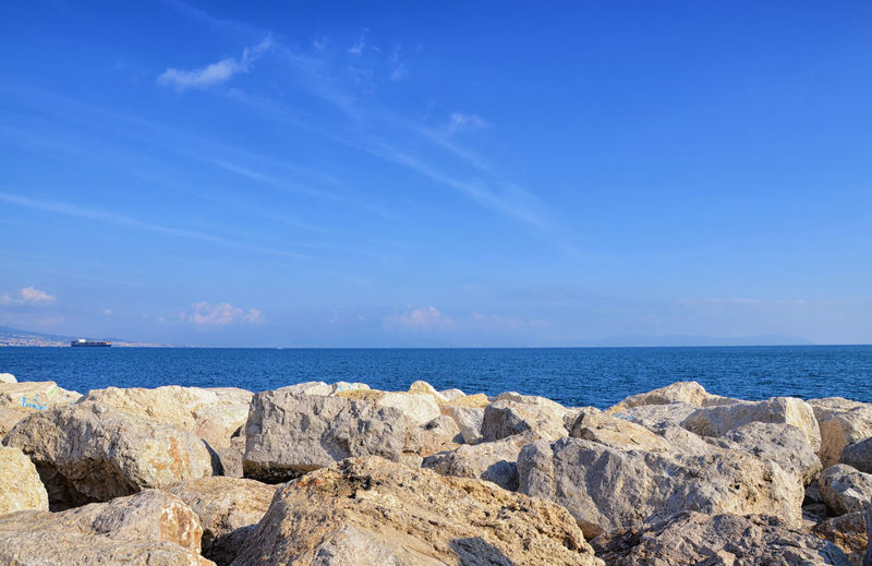 Sea & blue Sky. The KIOMI Collection Follow Beauty In Nature Blue Blue Sky Blue Wave Cliff Copy Space Horizon Over Water Idyllic Landscape Nature Outdoors Rock - Object Rock Formation Rocky Scenics Sea Shore Showcase April Sky Skyporn Tranquil Scene Tranquility Water