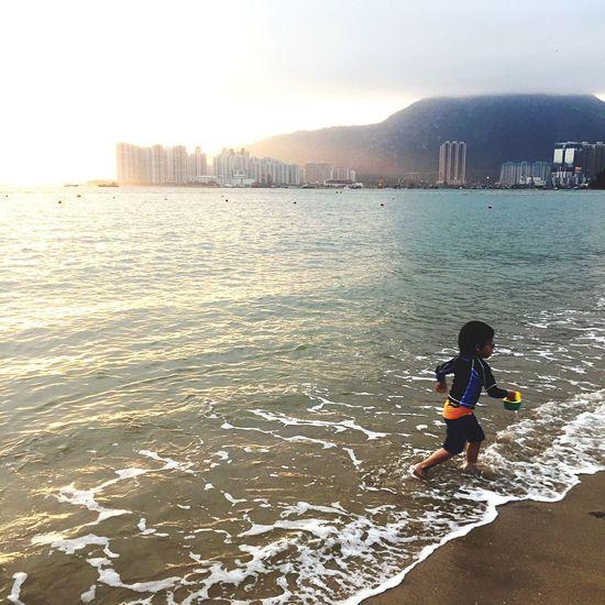 Beach Playing Boy Fun Love HongKong