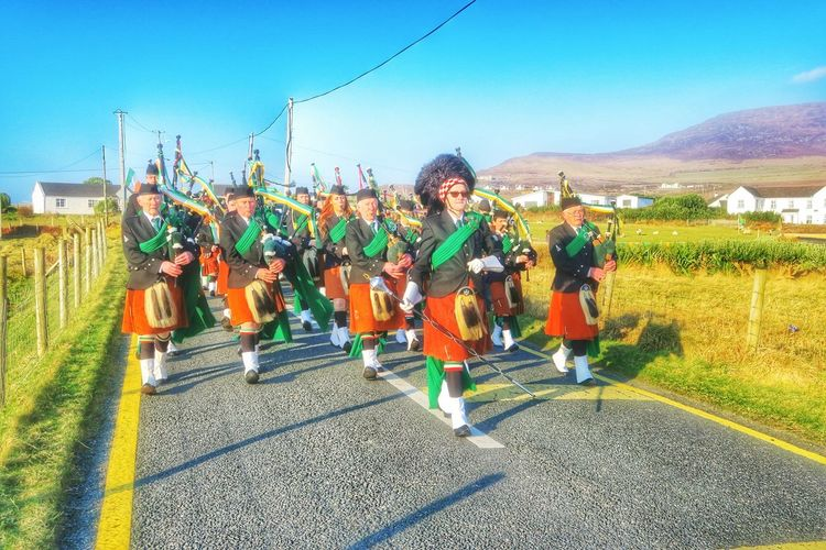 Dooagh Pipe Band starting the St. Patrick's Day parade 2016. Bagpipes Bagpipe Band St. Patrick's Day Parade