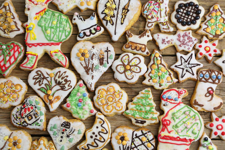 Christmas Holidays Decoration Temptation Cookies Sweet Food Sweets Homemade Handmade Many Gingerbread Icing Colors Colorful Baked High Angle View Shapes Top View Backgrounds Wallpaper Snack Large Group Of Objects Holiday Indoors  No People Choice Pattern Full Frame Variation Cookie Abundance Art And Craft Collection Celebration Close-up Food And Drink Creativity Order Floral Pattern