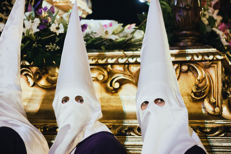 Semana Santa, León. Eyes Gold Holy Week Looking At Camera Procession Religion Semana Santa Spirituality Tradition Traditional Culture White Fresh on Market May 2016 People And Places Fresh On Market 2016